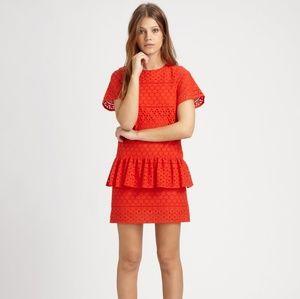 Thakoon Coral Eyelet Peplum Dress